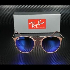 Ray-Ban gold beige frame blue mirrored lens